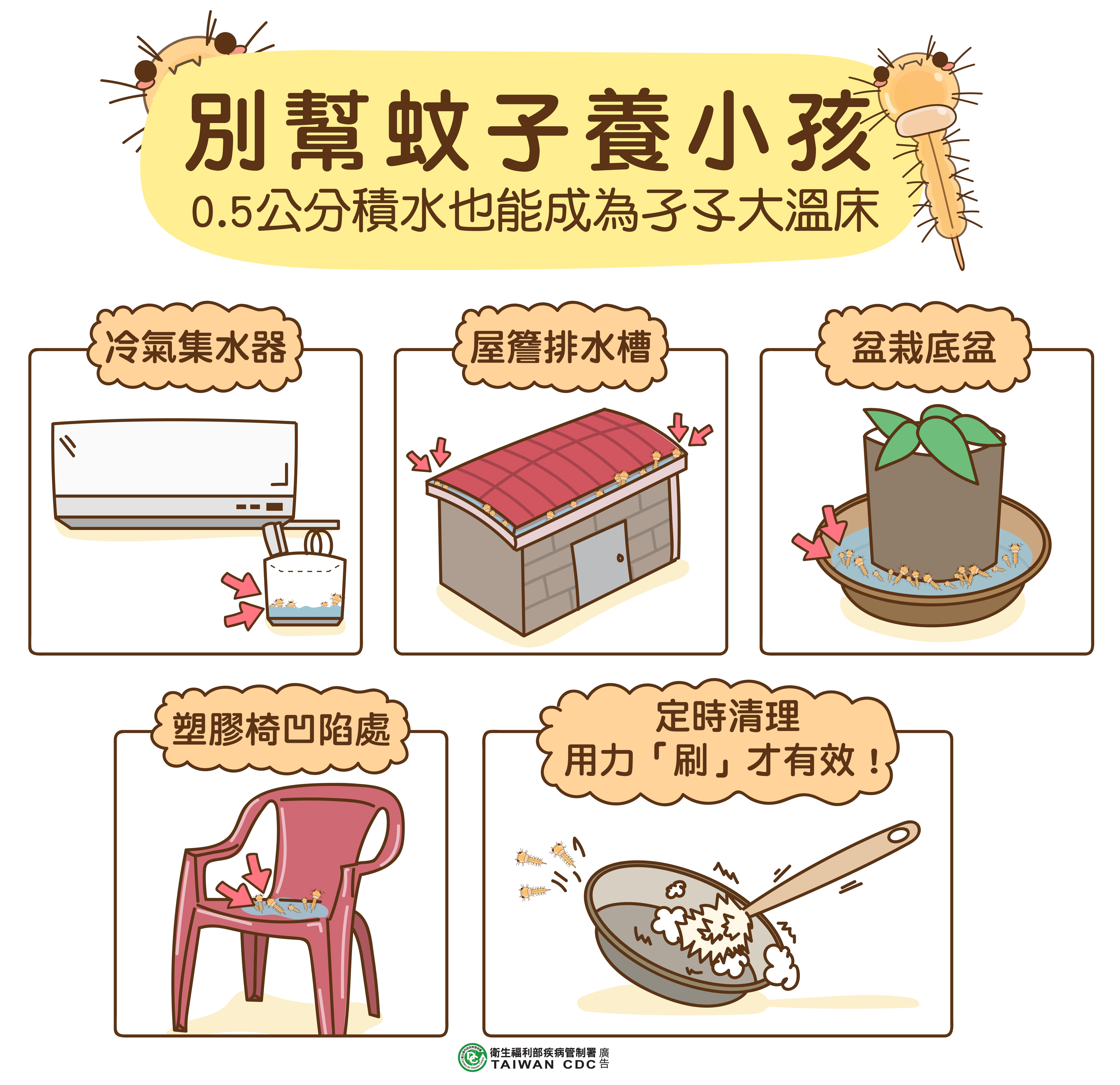台南新確診1本土登革熱! 積水0.5公分就能養孑孓