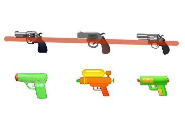 6大科技公司將手槍Emoji改成「水槍」力挺槍枝管制議題