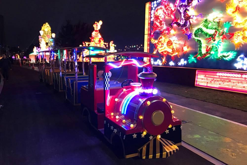 搭小火車看燈會,讚啦!新北大都會公園首創賞遊花燈搭小火車