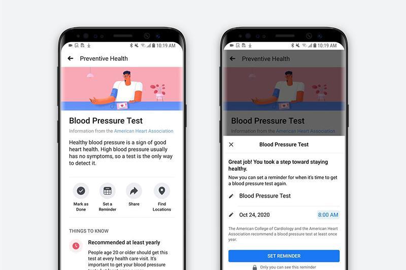 跨足醫療領域!臉書推出「預防保健」服務 可安排健檢和查健康資訊