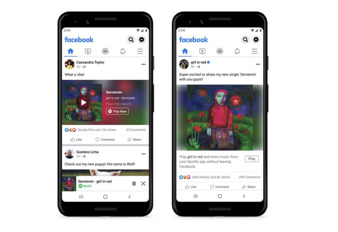 強強聯手!臉書攜手Spotify推迷你播放器 用戶可以滑動態邊聽音樂、Podcast