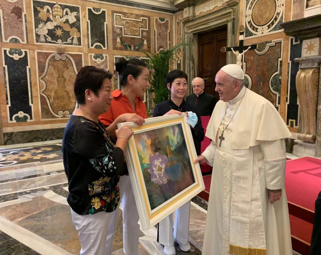 台灣之光!梵蒂岡珍藏藝術家白魚林伯禧作品「富貴平安」 獲教宗親睞典藏